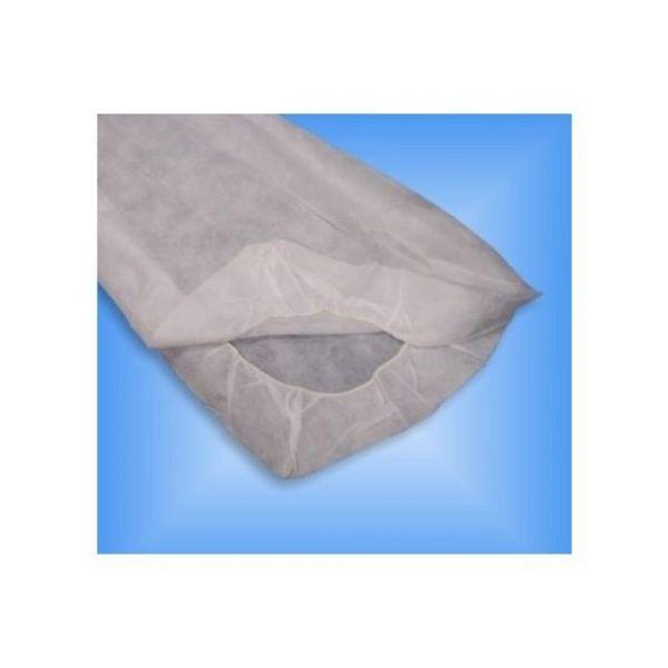 Llençol cobreix lliteres ajustable blanca 80/60 x 210 cm (10 u.)